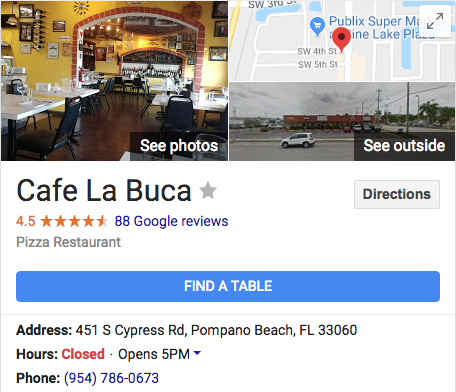 cafe la buca restaurant pompano beach