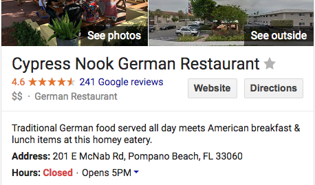 Cypress Nook German Restaurant
