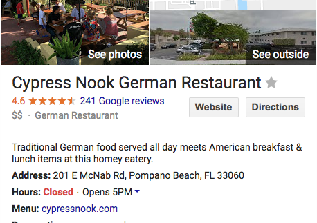 Cypress Nook German Restaurant
