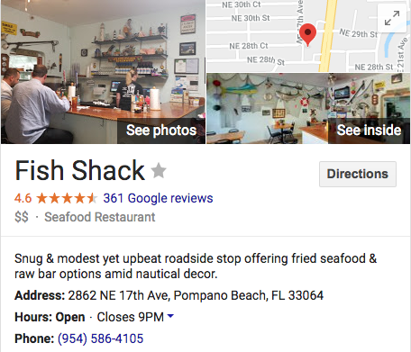 Fish Shack restaurant pompano beach