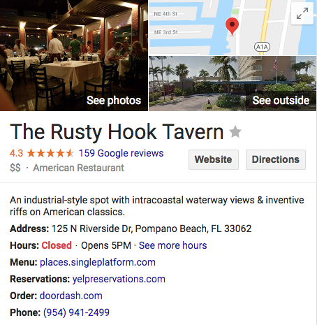 rusty hook tavern restaurant pompano beach