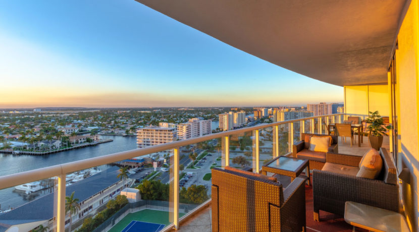 2 BR Condo Balcony Sunset HDR