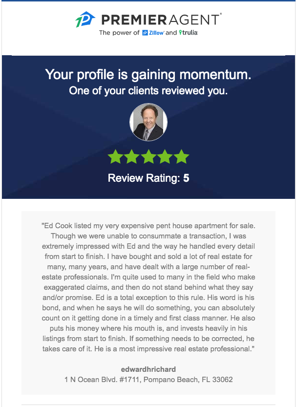 Ed Cook Real Estate client testimonial